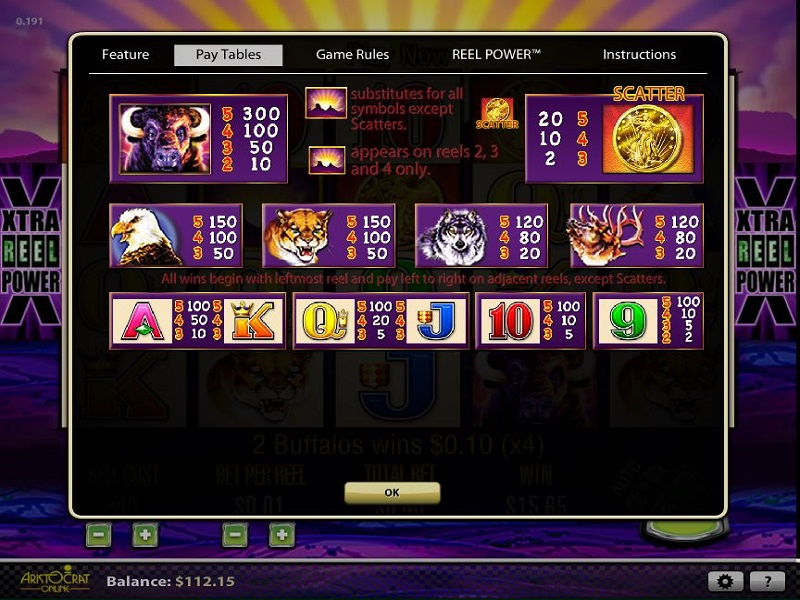 Buffalo Buffalo slot pay table