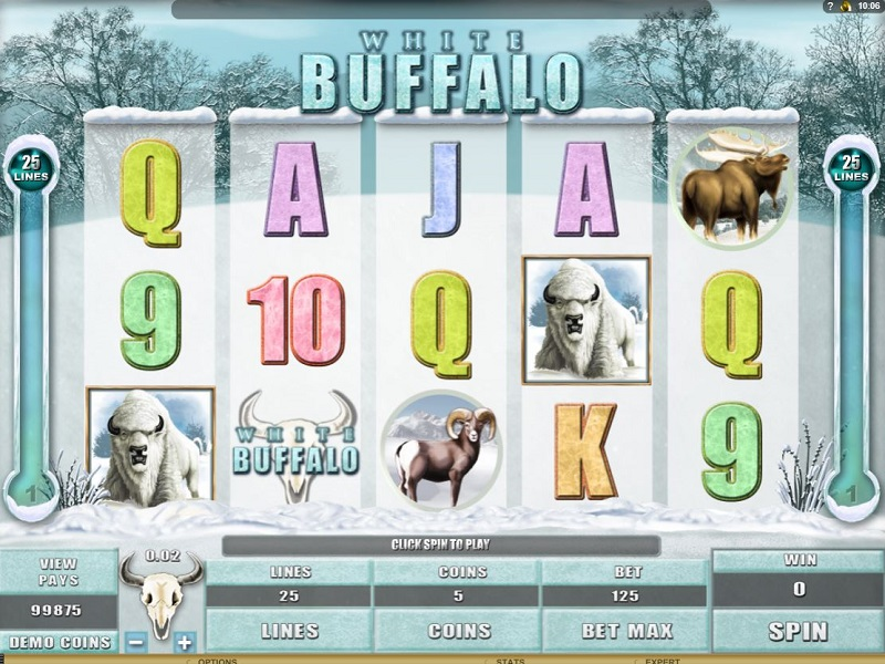 White Buffalo Game screen and symbols