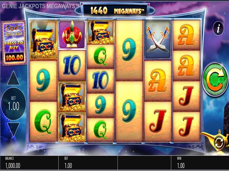 Genie Jackpots Megaways Game screen and symbols