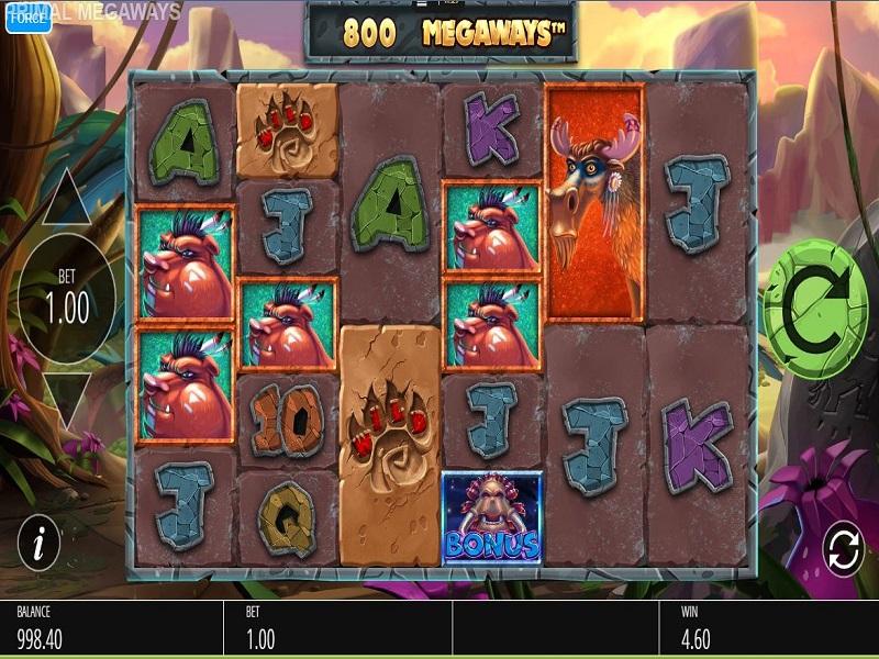 Primal Megaways Game screen and symbols