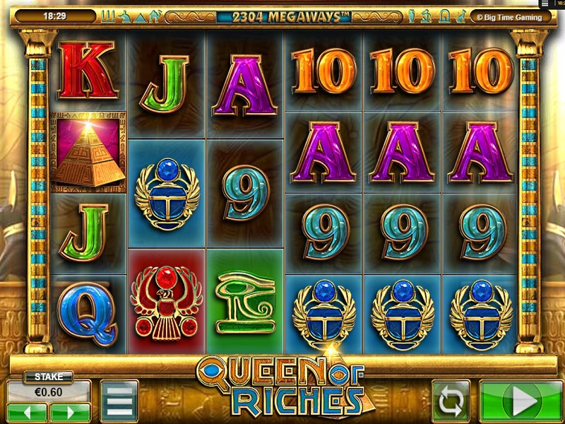Queen of Riches Megaways Game screen and symbols