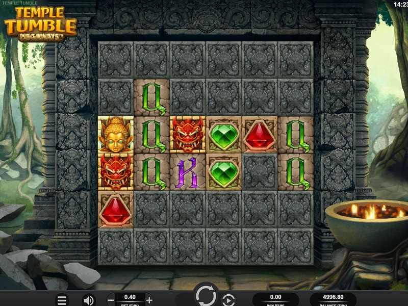 Temple Tumble Game screen and symbols